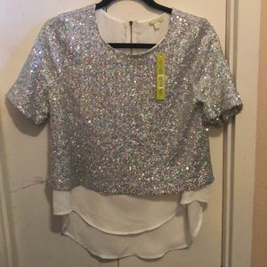 Gianni Bini Chandelier Crystal Blouse size SM